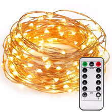 100 Micro LEDs Christmas String Lights Battery Powered 33ft Long Ultra Thin String Copper Wire Lights with Remote Control Timer