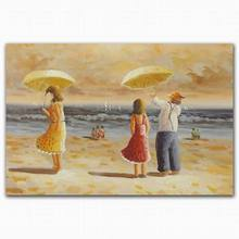 Famous beach scenery sexy nude foot woman man under umbrella oil painting