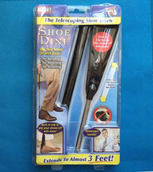 Telescopic Shoehorn with built in clip to slip your shoes off with ease!