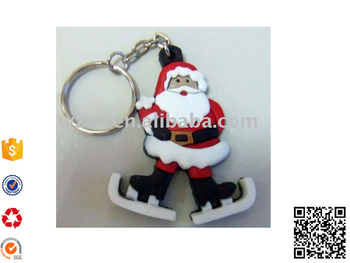 High quality 2D 3D Santa claus PVC Keychain rubber key ring