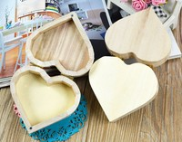 Kid Jewelry Box Wooden Crafts Toys Love Heart Shape