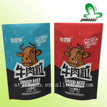 Custom printed stand up foil resealable food grade plastic bags