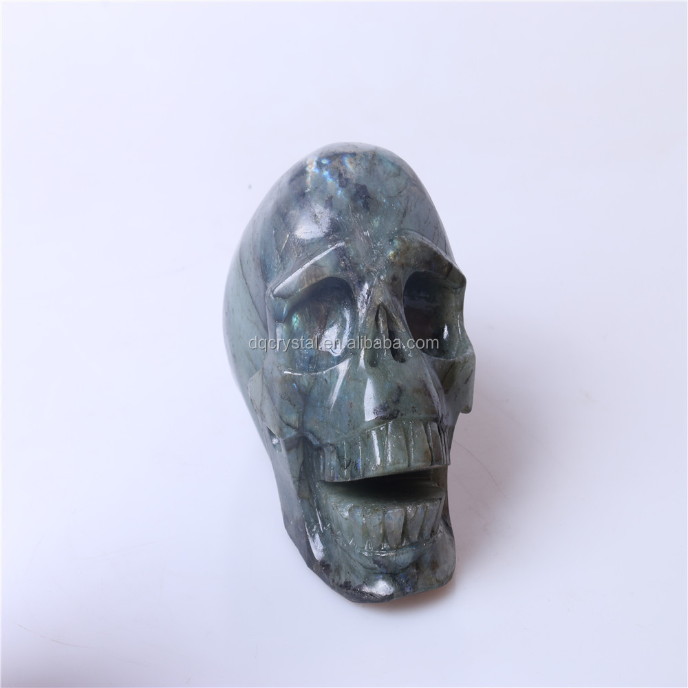Wholesale natural good quality labradorite gemstone carving skull, colorful skull heads,rock crystal skull carving