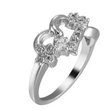 Hot New Brand Women Fashion Jewelry Sparkling White Gold Plated Girl Ring Nice Gift