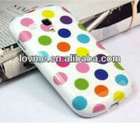 Colorful big Point TPU GEL Soft Skin Case Cover For Samsung Galaxy S3 III Mini i8190 White