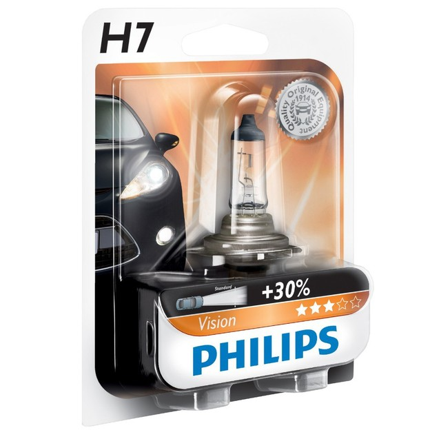 Genuine Philips Vision H7 Halogen Bulbs (Single) 12972PRB1 - Also available in H1 & H4