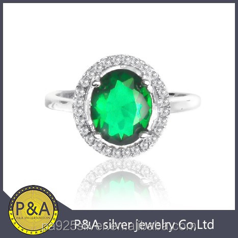 Green emerlad ring with round cz 4 prong stone set plain ring body differernt size