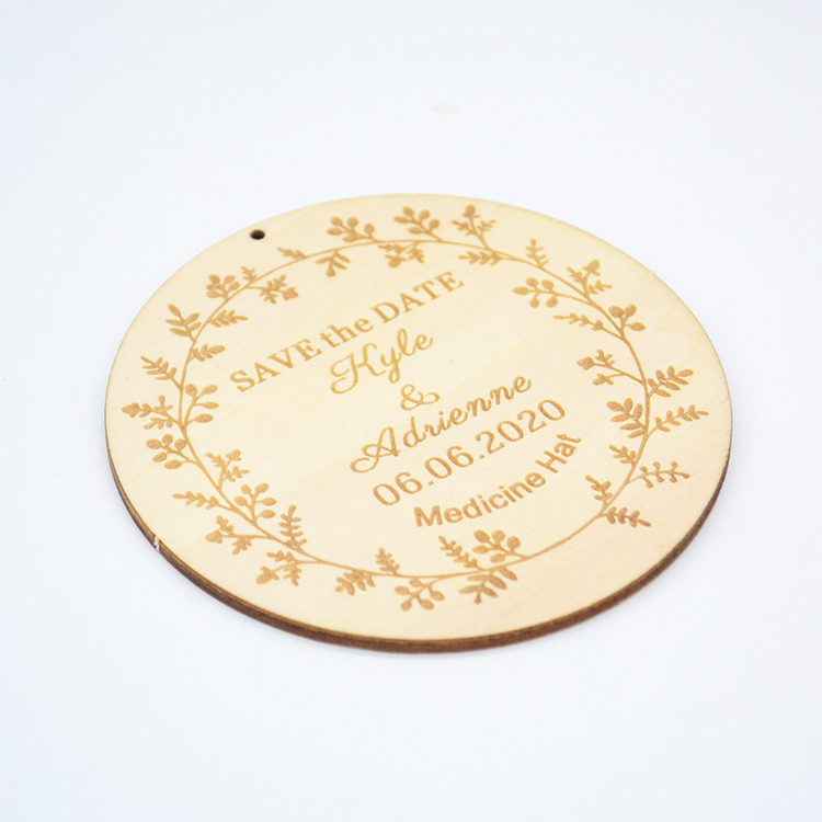Wooden crafts personalised laser cut wood wedding save the date card