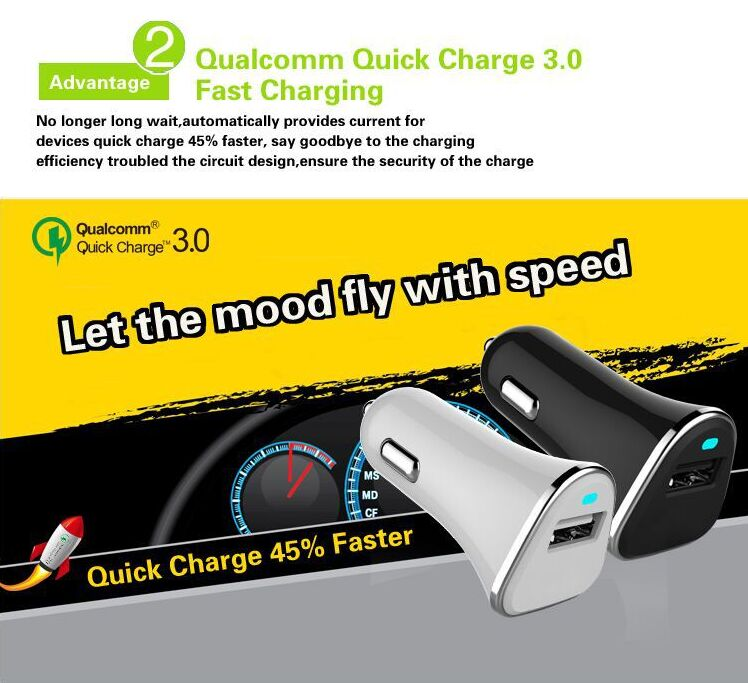 Shenzhen Battery Charger Dual Usb Fast Quick 3.0 Car Charger Usb Car Charger Qc 3.0