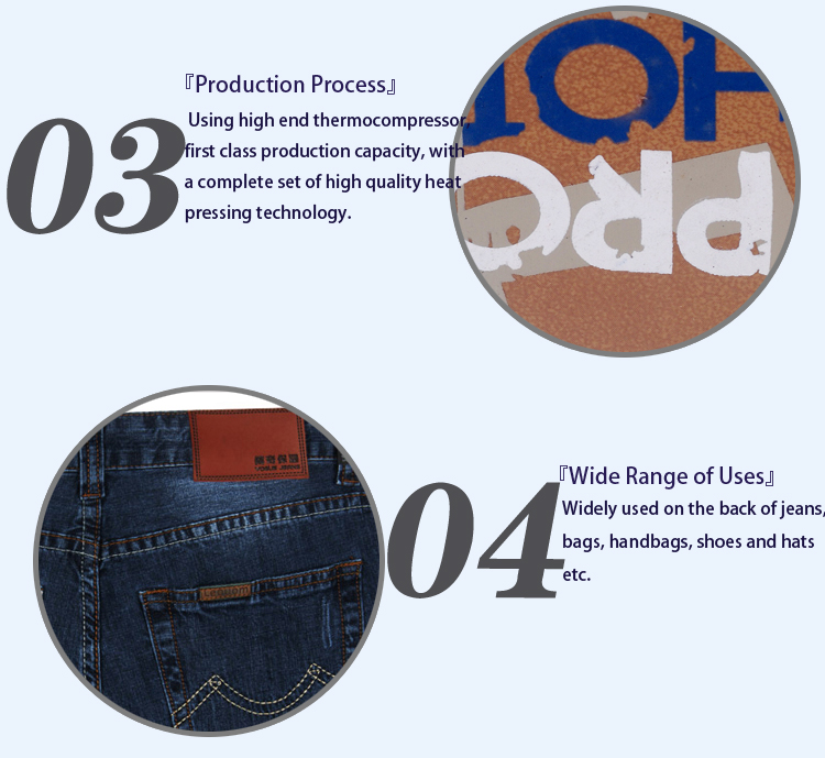 Custom Jeans Embossed Logo Leather Label Leather Patch LL50008
