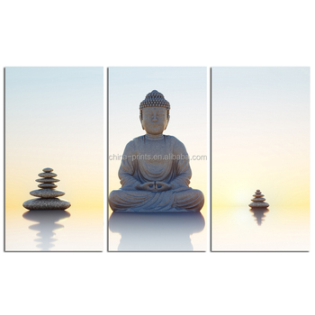 Zen Canvas Wall Art Painting/Religion Buddhism Stretched Canvas Print/Modern Art Stone Buddha Canvas Printing 3 Panel
