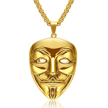 Men Mask Pendant gold Titanium steel necklace