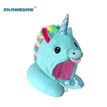 Fashion Plush Unicorn Hooded Animal Travel Neck Pillow Cute Adjustable Drawstring Head Support Unicorn Neck Pillow for Airpla