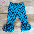 6M-8Y Kids Stretch Shiny Fish Scale Turquoise Mermaid Pants Toddler Little Girls Ruffle Mermaid Leggings