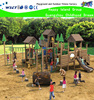 Country Themed kids wood playground outdoor with slide and climbing structure