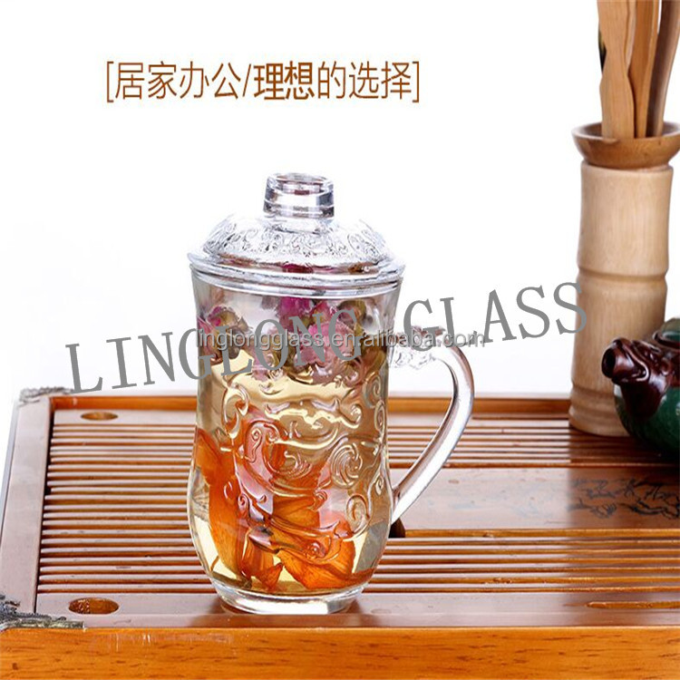 heat-resisting glass tea cup flower tea cup glass cover/glass cup with handle