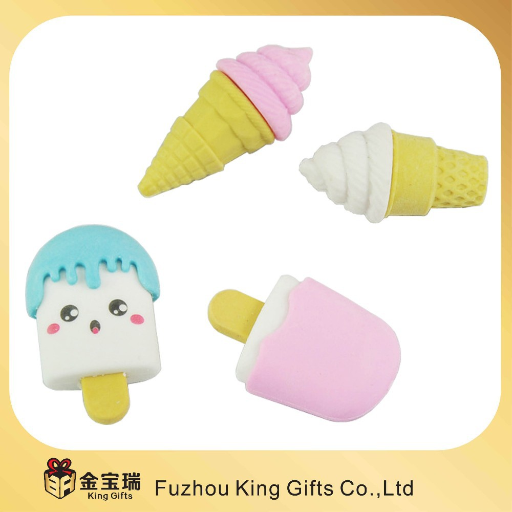 Customized shape and color eraser for promption with Ice-cream rubber pen Eraser for kids