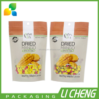 Stand up ziplock pouch food packaging bag
