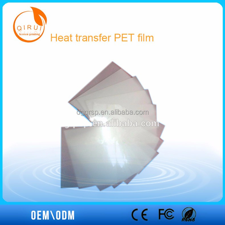 PET heat transfer film screen printing for shorts