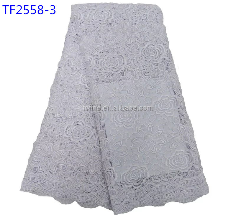2017 hot-selling white cord lace fabric african cord lace for making party dress