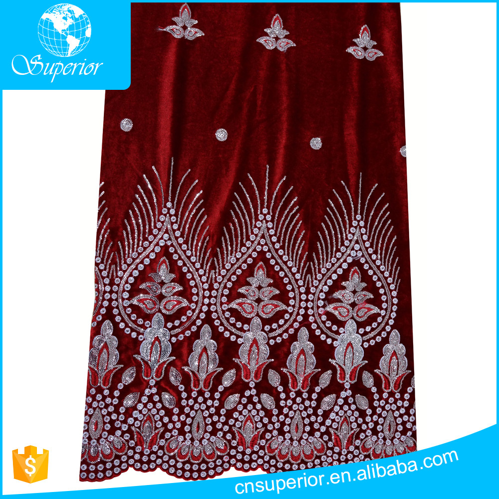 SPR-R013 Superior Design Velvet Fabric Wholesale High Quality African Velvet Lace Fabric