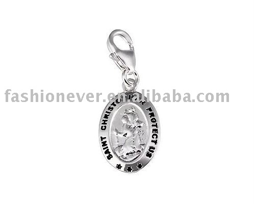 "Silver Saint Christopher ""Protect Us"" Charm Fashion Charms Jewelry"