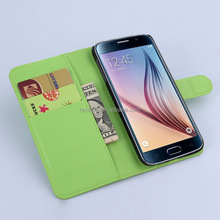 Colors Genuine Leather Case Cover with Fold Stand leather case with wallet & card holder only for Samsung Galaxy S6