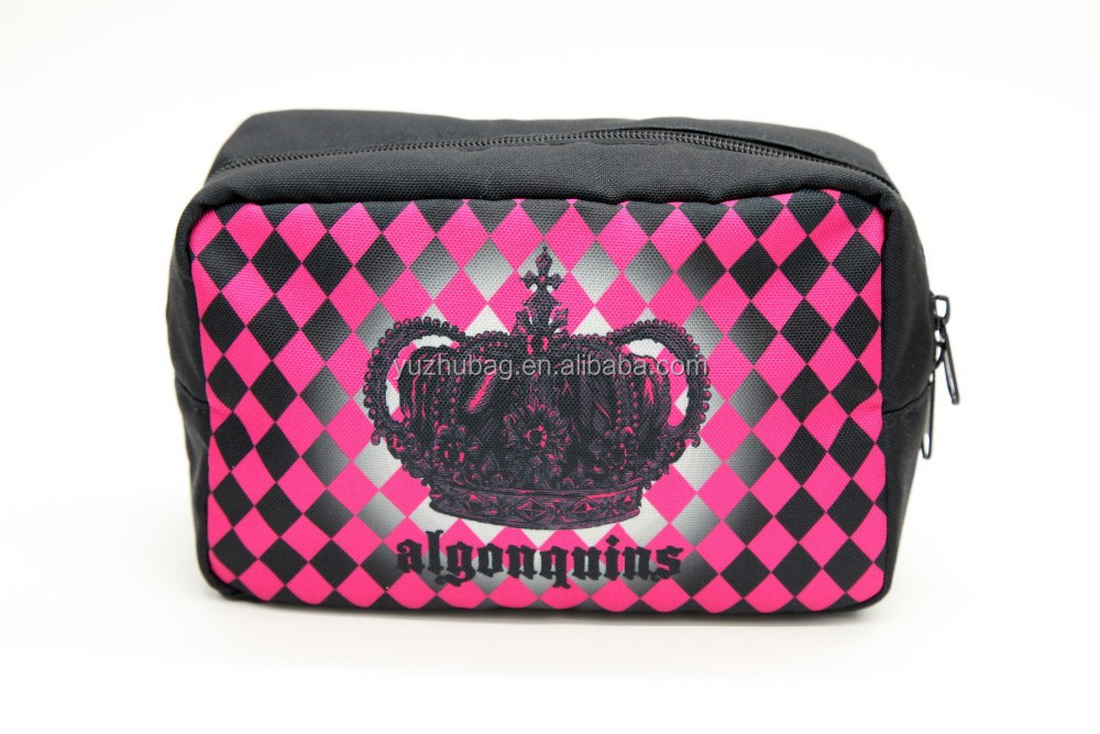 China wholesale crown print pu cosmetic case
