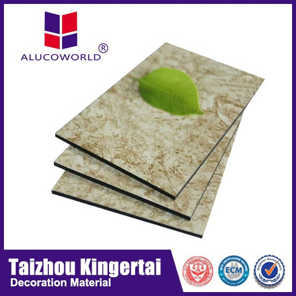 Alucoworld light weight exterior building materials best sell marble finish aluminum composite panel/stone look wall panelling