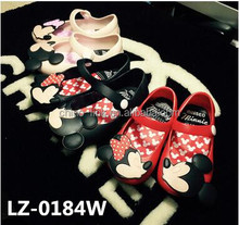 2016 Latest Mickey Minnie Crystal Jelly PVC Kids Shoes Sandals Rainny Shoes