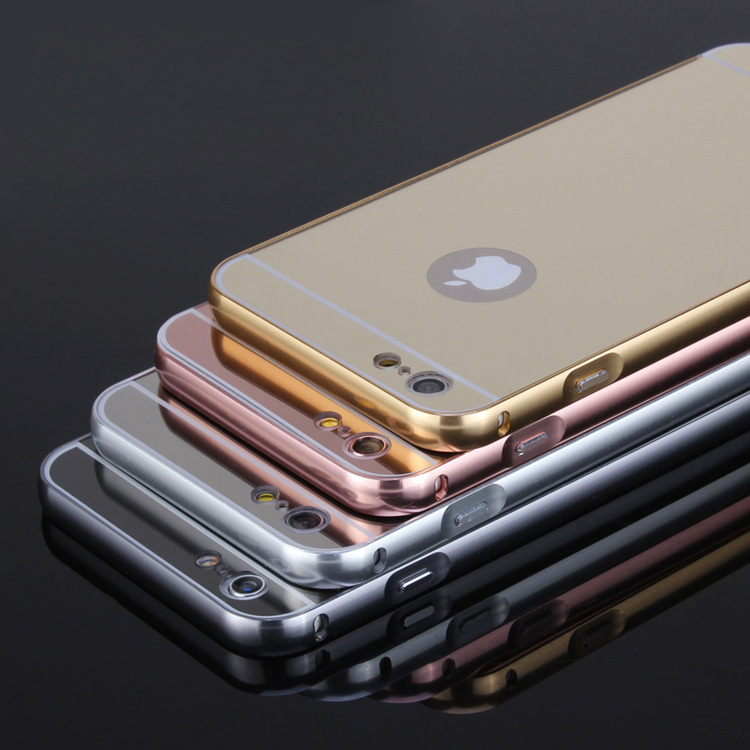 Hot sale metal bumper case with mirror back covers for apple iphone6s/6splus