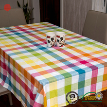 Customized dining table cloth cotton yarn dyed outdoor table covers