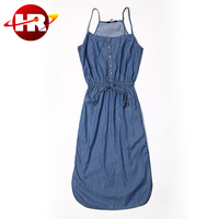 New Lady Comfortable soft handfeel long denim maxi dress for women lady