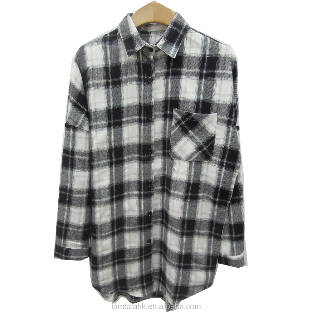 100% cotton% lady blouse long sleeve women shirt black check blouse