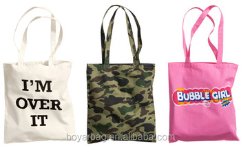 Custom simple logo natural reusable tote bag custom cotton fabric