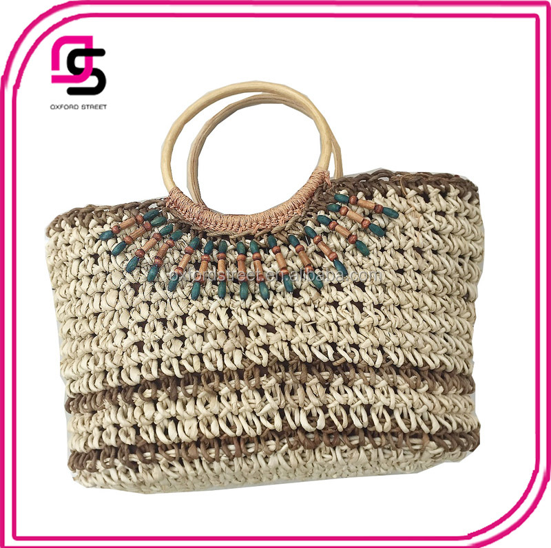 promotional fashion handmade straw tote bag mexico with wooden handle straw beach bag