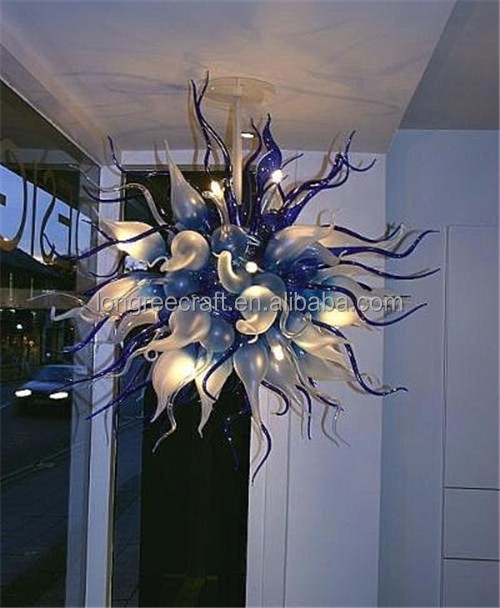 Contemporary Fashion Cobalt Blue Round LED Dining Room Lighting Blown Glass Chandelier