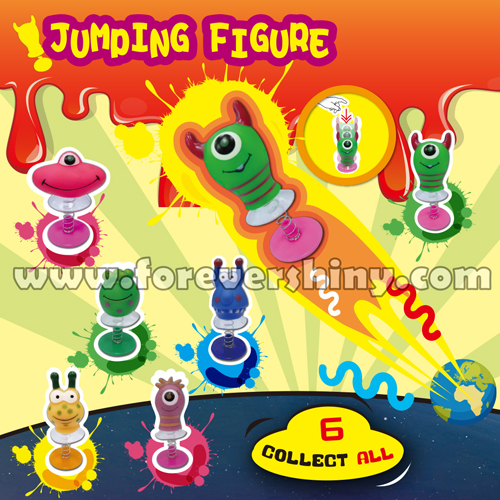 Custom Design Logo OEM ODM Speelgoed Stikeez Fun Gashapon Gift Toy Small Plastic Monsters Spring Jumping Toy with Capsule