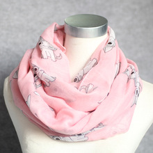 New arrival ladies voile animal printed cute cat neck scarf brand pink neckerchief mixed color scarf