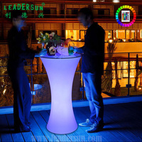 LEADERSUN China 110cm height waterproof wireless portable outdoor party wedding bar Plastic Color Changing Led Round Bar Table
