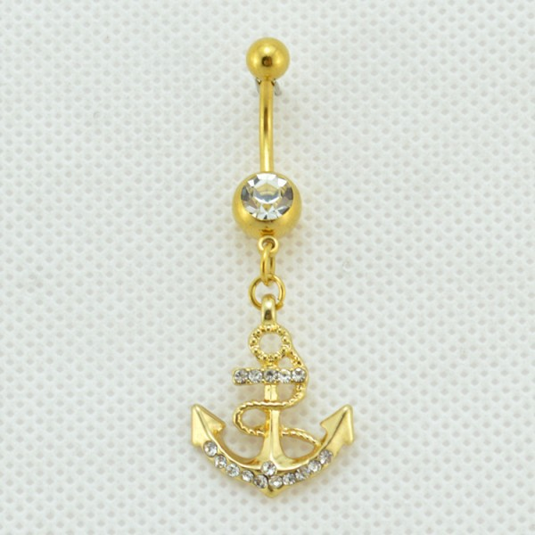 2015 Fashion delicate rhinestone nautical anchor gold plated belly navel ring body piercing jewelry