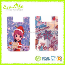 Christmas Printing 3M adhesive stickers mobile phone silicone case wallet, card holder