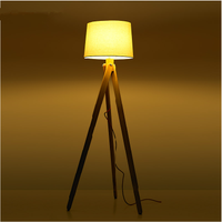Finland timber tripod floor standing lamp with linen lamp shade antique wooden lamps