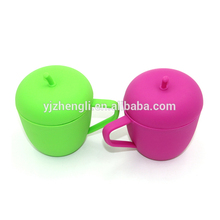 Customized MG-302 Apple Shape Silicone Cup with Cover