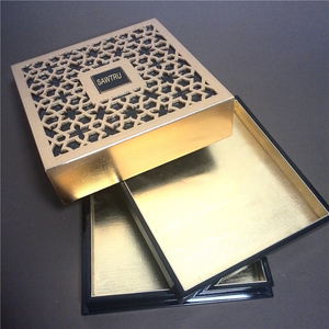 Engraved golden foil chocolate packaging box laser cut wooden box
