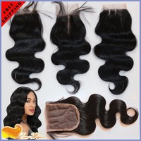 Factory Wholesale 6A Grade 100% Human Hair Virgin Brazilian Hair Closure Body Wave Bleached Knots 4X4Inch Natural color