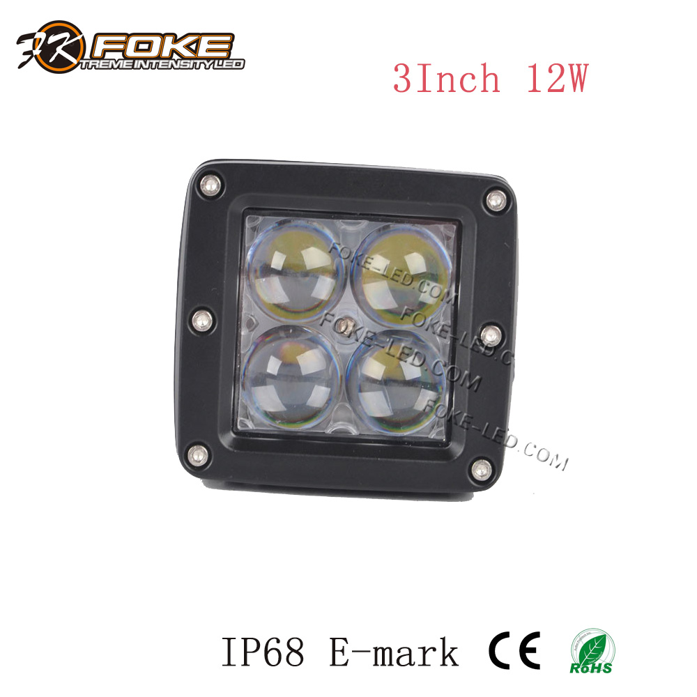 cube 4D lens light 3 inch 12W led work light ed driving light for tractor truck off road heavy duty