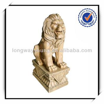 36 Inches ourdoor bronze color fiberglass lion statue with pedestal