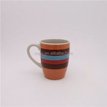 Hand painted crockery coffee cup stripe design ceramic stoneware mug