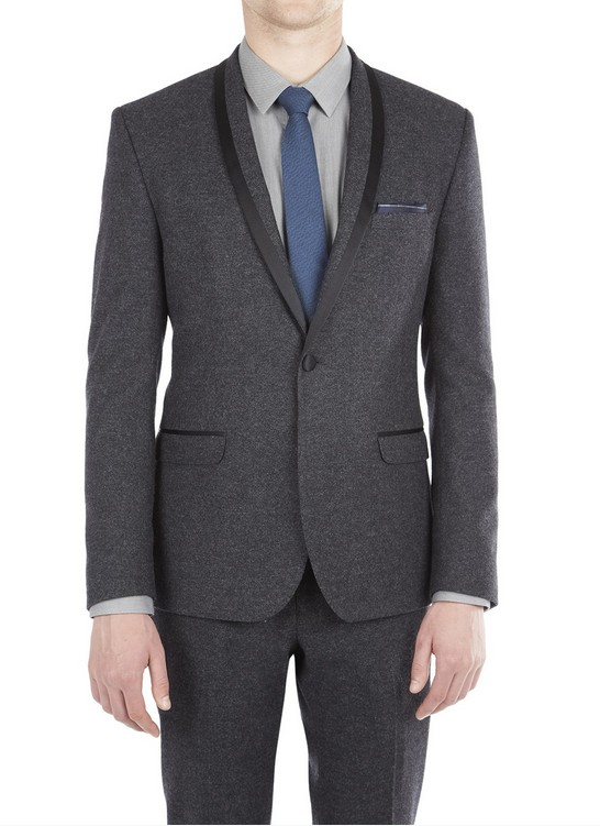 Mens Tweed Dinner Jacket Suit with Satin Lapel